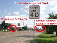 Baytown speed limit sign