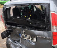 Smashed German speed camera van