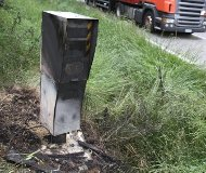 Burned French speed camera