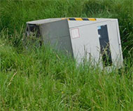 French speed camera in a ditch