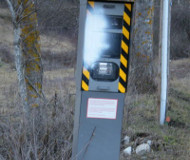 Spraypainted French speed camera