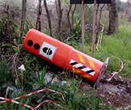 Tipped over Italian speed camera