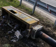 Toppled French speed camera