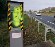 Spraypainted speed camera