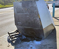 Torched French speed camera